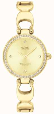 Coach | relógio do parque das mulheres | cinta de ouro face de ouro | 14503171