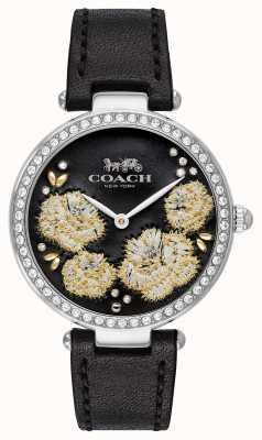 Coach | relógio do parque das mulheres | pulseira de couro preto mostrador preto 14503283