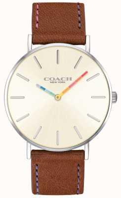 Coach | relógio de perry para mulher | pulseira de couro marrom mostrador branco | 14503032