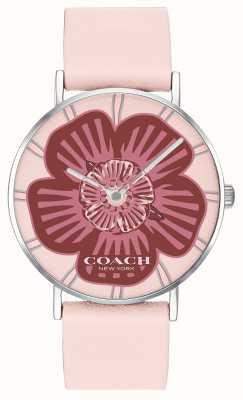 Coach | relógio de perry das mulheres | pulseira de couro rosa | mostrador floral | 14503231