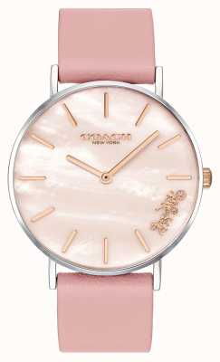 Coach | relógio de perry para mulher | pulseira de couro rosa | 14503244