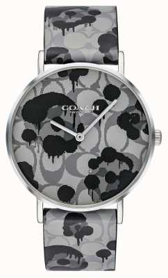Coach | relógio de perry para mulher | design floral cinta de couro cinza | 14503248