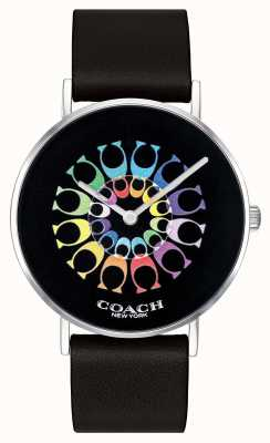 Coach | relógio de perry para mulher | pulseira de couro preto mostrador preto | 14503289