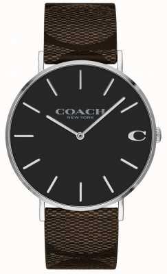 Coach   relógio dos homens charles   pulseira de couro marrom   14602156