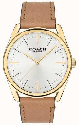 Coach   mens luxo moderno assistir   pulseira de couro tan mostrador branco   14602398