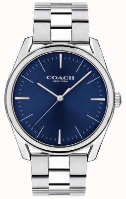 Coach | mens luxo moderno assistir | mostrador azul em aço inoxidável | 14602401