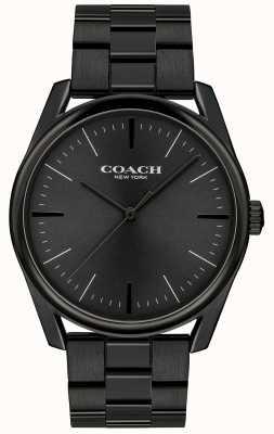 Coach Mens luxo moderno preto aço inoxidável 14602403