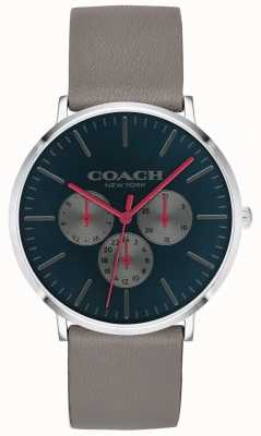Coach | relógio varick mens | mostrador preto de cinta bege cronógrafo | 14602390
