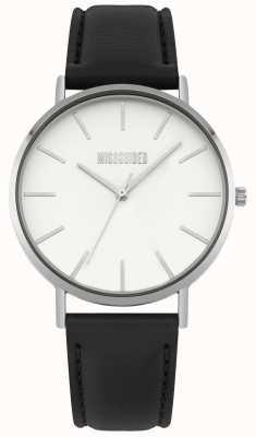 Missguided | senhoras assistem | pulseira de couro preto mostrador branco | MG017B