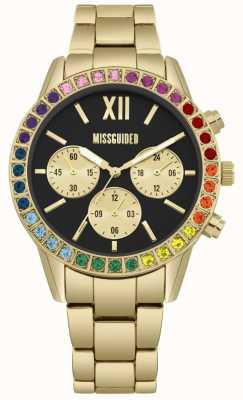 Missguided | senhoras | pulseira de ouro | mostrador preto | moldura de pedra do arco-íris MG015GM