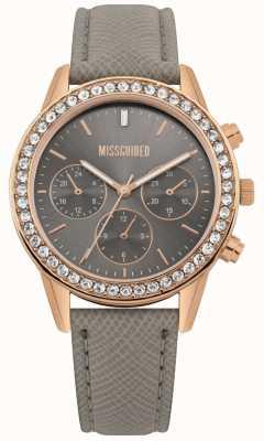 Missguided | senhoras assistem | pulseira de couro cinza caixa em ouro rosa | MG002ERG