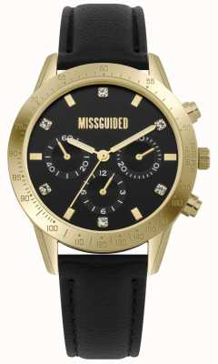 Missguided | senhoras assistem | caixa de ouro de couro preto | MG004BG