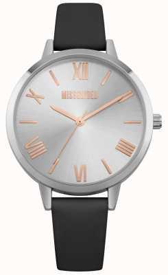Missguided | senhoras assistem | pulseira de couro preto mostrador prateado | MG001B