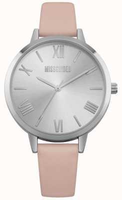 Missguided | senhoras assistem | pulseira de couro creme mostrador prateado | MG001P