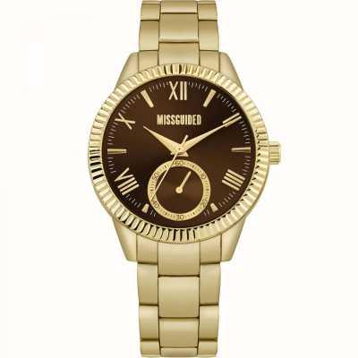 Missguided | pulseira de aço inoxidável em ouro para senhora | mostrador marrom | MG006GM