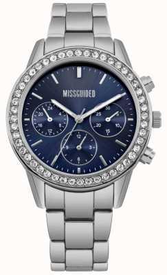 Missguided | senhoras assistem | mostrador azul em aço inoxidável | MG002USM