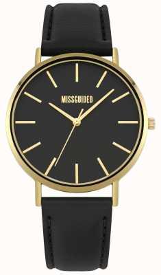 Missguided | senhoras assistem | pulseira de couro preto mostrador preto | MG017BG