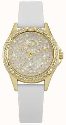 Missguided | senhoras assistem | caixa de ouro pulseira de couro branco | MG013WG