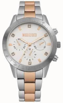 Missguided Senhoras dois tons de prata e rosa de ouro relógio | MG004SRM