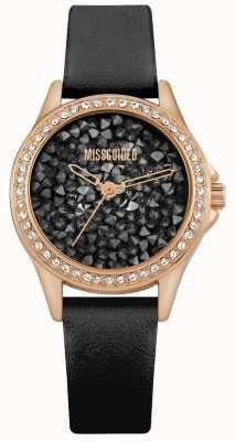 Missguided | pulseira de couro preto para mulher | mostrador de cristal preto | MG013BRG