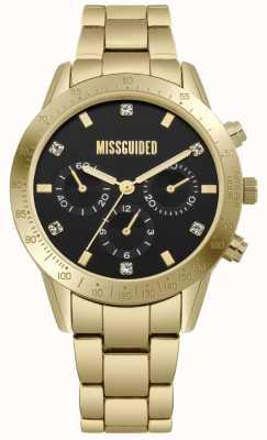 Missguided | aço inoxidável de ouro das mulheres | mostrador preto | cronógrafo | MG004GM