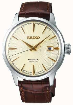 Seiko | mens | presságio | automático | pulseira de couro marrom | SRPC99J1