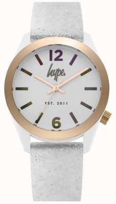 Hype | pulseira de silicone womens glitter branco | mostrador prateado | HYL004S