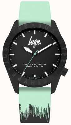 Hype | pulseira de silicone preta de menta | mostrador preto | HYU008AU