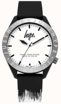 Hype | pulseira de silicone mens preto / branco | mostrador branco | HYG006BW