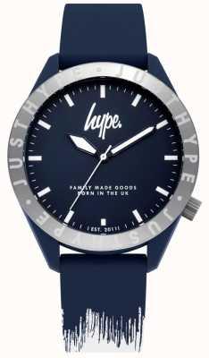 Hype | pulseira de silicone mens azul / branco | mostrador azul | HYG006UW