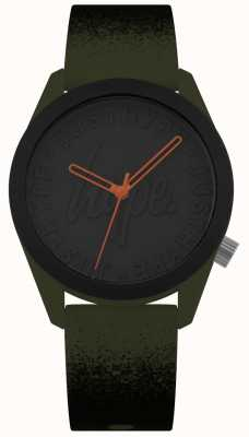 Hype | pulseira de silicone cáqui / preto | mostrador preto | HYU009NB