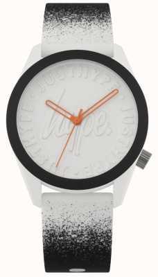 Hype | pulseira de silicone preto / branco | mostrador branco | HYU009BW