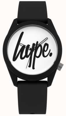 Hype | pulseira de silicone preta | mostrador branco | HYU001B