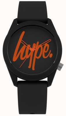 Hype | pulseira de silicone preta | mostrador preto e laranja | HYU001BO