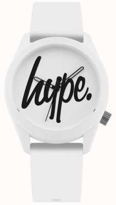 Hype | pulseira de silicone branco | mostrador branco e preto | HYU001W