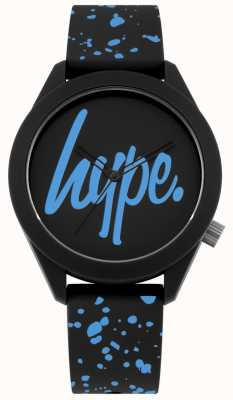 Hype | pulseira de silicone mens preto e azul | mostrador preto / azul | HYG003BU