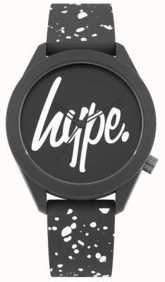 Hype | alça de silicone mens cinza e branco de impressão | mostrador cinza | HYG003BW