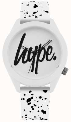 Hype | alça de silicone mens branco e preto de impressão | mostrador branco | HYG003W