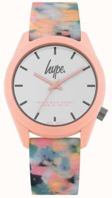 Hype | pulseira de silicone multi-cor-de-rosa | mostrador branco | HYU009PU