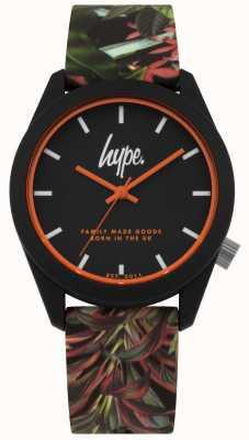 Hype | pulseira de silicone preta folha / flor | mostrador preto | HYU009BN