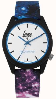 Hype | silicone azul e roxo da cópia da galáxia de <br> Não Perca! mostrador branco | HYU009BV