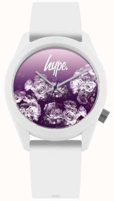 Hype | pulseira de silicone branco | mostrador de flores roxas | HYU010WV
