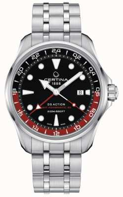 Certina | ação ds | gmt powermatic 80 | mostrador preto | C0324291105100