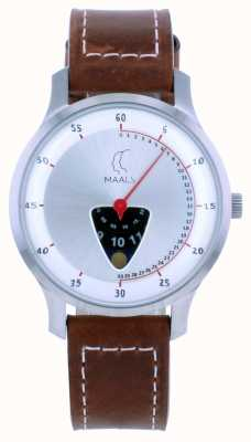 Maals Salte sobre a pulseira de couro marrom JOTMBRUSHEDSTEEL