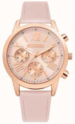 Missguided | pulseira de couro rosa senhoras | mostrador rosa | MG019PRG