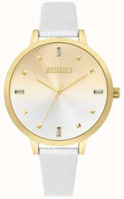 Missguided | pulseira de couro branco senhoras | mostrador de dois tons | MG020SG
