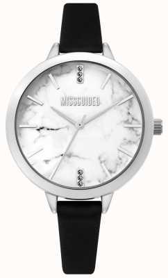 Missguided | senhoras relógio de couro preto | mostrador branco marbel | MG011BS