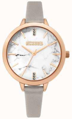 Missguided | pulseira de couro cinza para senhoras | mostrador branco marbel | MG011ERG