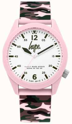 Hype | senhoras camuflagem pulseira de silicone | mostrador branco | HYL019NP