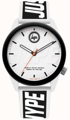 Hype | relógio de homem | pulseira de silicone branco e preto | HYU018BW